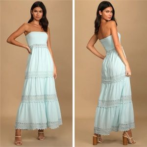 NWOT Lulus Season of Sunshine Strapless Maxi Dress